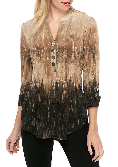 New Directions® Petite Ombre Henley Top