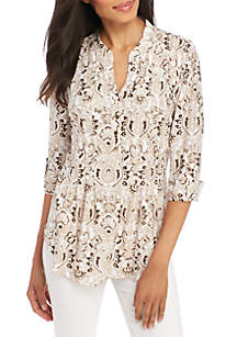 Petite High Low Paisley Scroll Henley Top