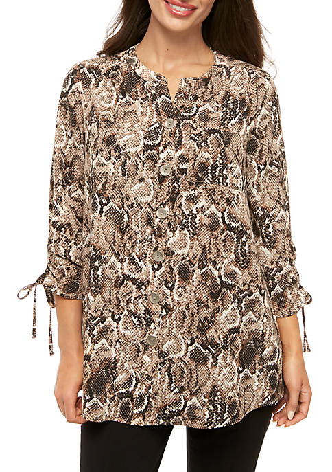 New Directions® Petite Polished Print 3/4 Cinch Sleeve