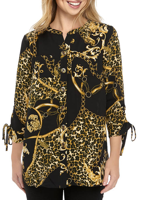 Petite Polished Print Cinch Sleeve Tunic Shirt
