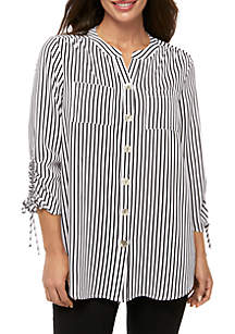 New Directions® Petite Polished Print Cinched Sleeve Tunic