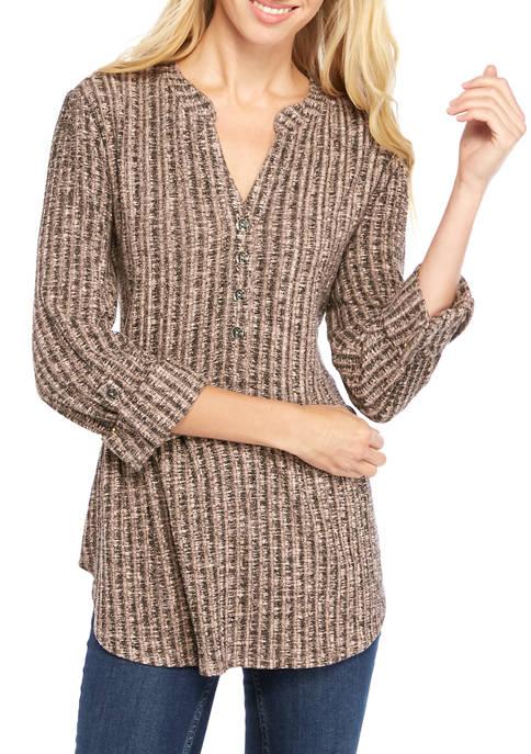 Petite Knit Henley Top