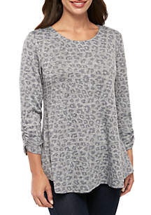 New Directions® Petite Printed Heathered Hacci Knit Swing Top