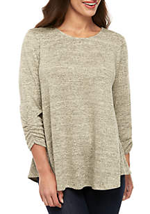 New Directions® Petite Heathered Hacci Knit Swing Top
