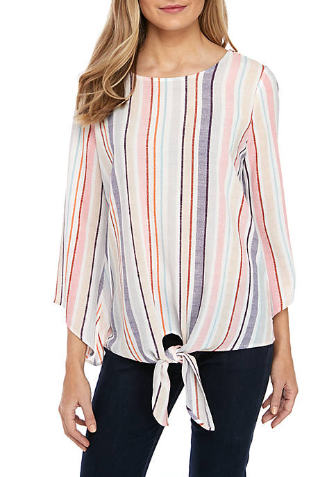 New Directions® Petite Stripe Top with Tie Front