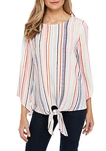 ac825bb4b3a8e7 ... New Directions® Petite Stripe Top with Tie Front