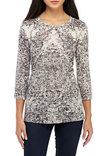 New Directions® Petite 3/4 Sleeve Sublimated Medallion Print Top