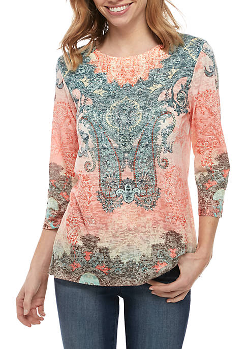 New Directions® Petite 3/4 Sleeve Medallion Sublimated T