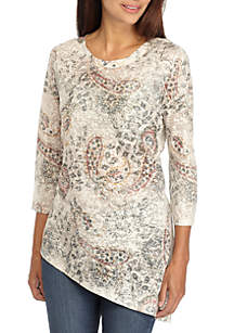 Petite 3/4 Sleeve Sublimated Paisley Knit Top