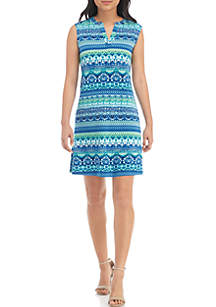 Petite Sleeveless Printed Split Neck Dress