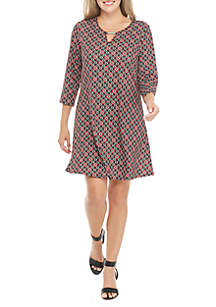 Petite Three-Quarter Sleeve Printed Dress