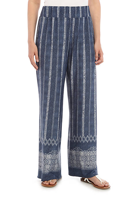 New Directions® Petite Pull On Printed Palazzo Pants