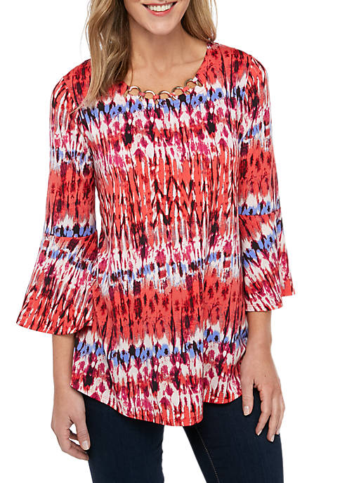 New Directions® Petite Bell Sleeve Grommet Swing Top