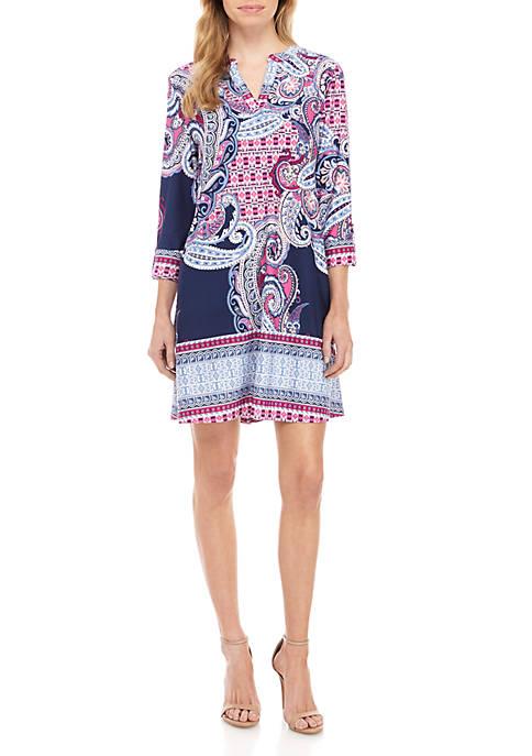 New Directions® Petite Split Neck Dress