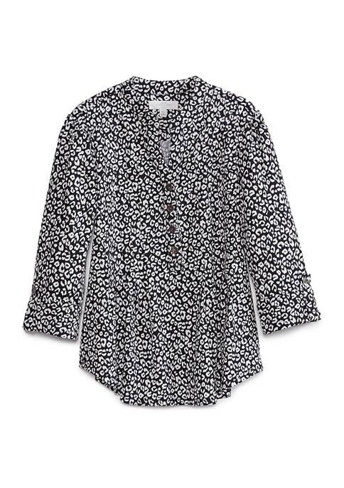 Petite Henley Neck Ditsy Leopard Print Blouse
