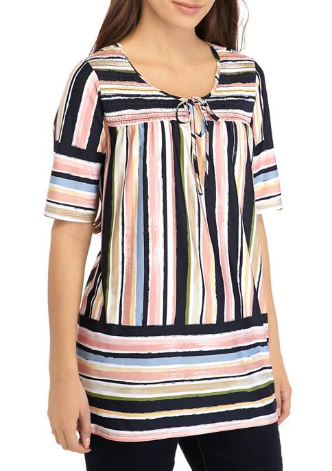 Petite Smocked Knit Stripe Top