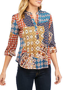 New Directions® Petite 3/4 Cinch Sleeve Swing Top