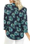 Petite Henley Palm Leaf Top