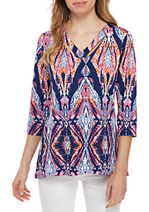New Directions® Petite 3/4 Sleeve Essential Ity Print Top