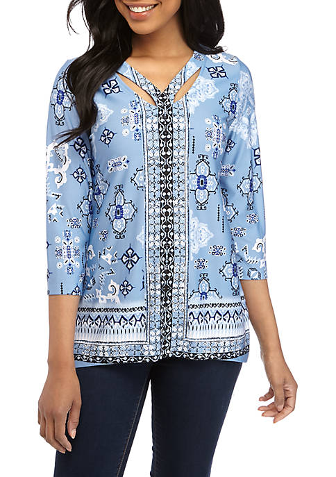 New Directions® Petite 3/4 Sleeve Essential Printed Top