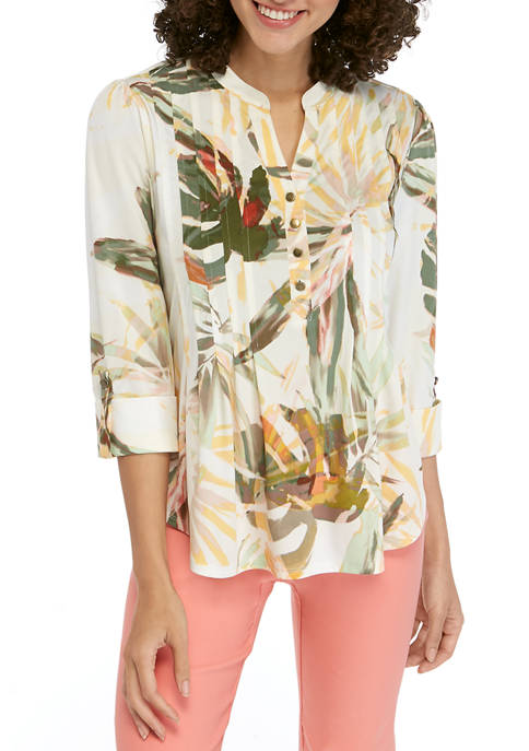 New Directions® Petite Printed Henley Top