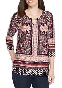 Petite 3/4 Sleeve Knit Border Print Tunic