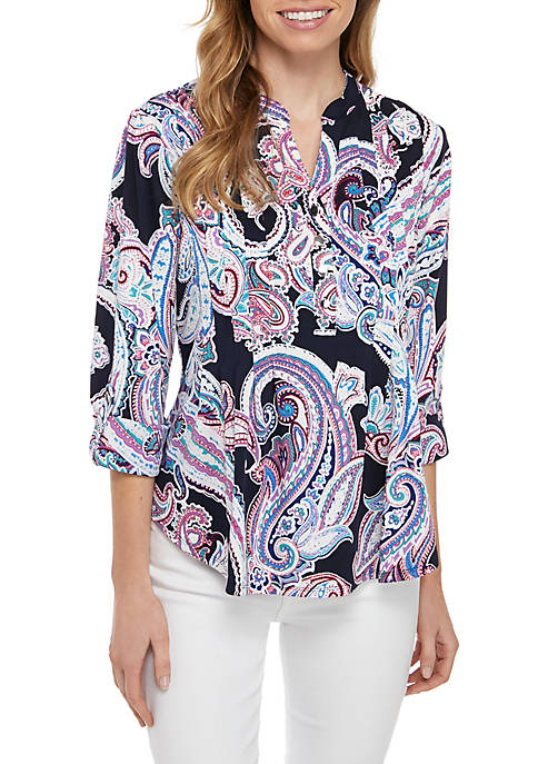 New Directions® Petite Paisley Henley Top