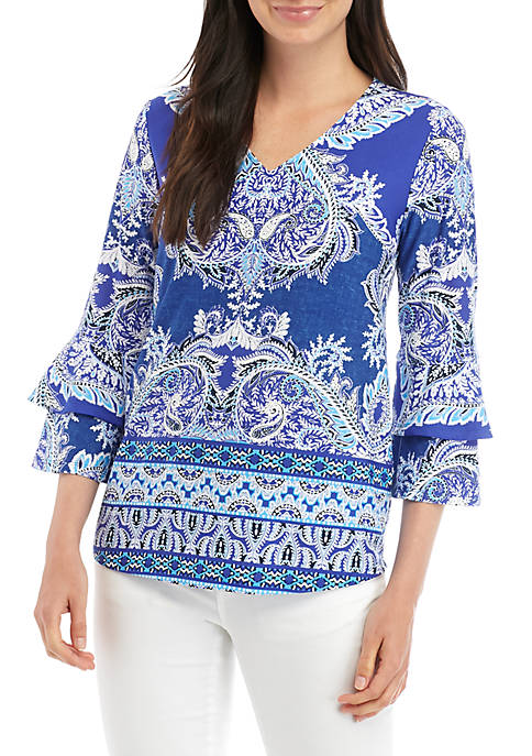 Petite 3/4 Double Bell Sleeve Puff Print Top