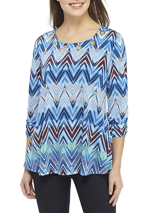 New Directions® Petite 3/4 Ruched Sleeve Chevron Swing