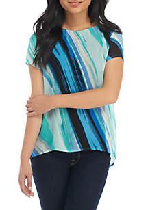Petite Short Sleeve Stripe Flyaway Top