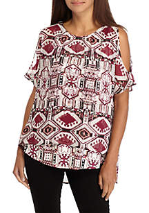 Petite Cold Shoulder Layered Print Top