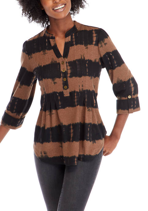 New Directions® Petite Blurred Lines Henley Top