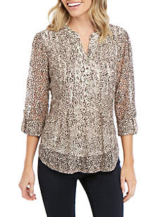 New Directions® Petite Henley Printed Lace Top