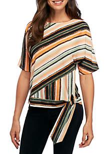Petite Short Sleeve Tie Front Stripe Woven Blouse