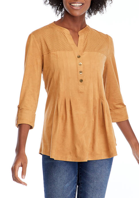 New Directions® Petite Henley Suede Top