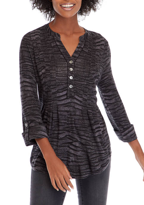 New Directions® Petite Henley Classic Tiger Top
