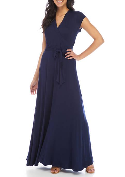 New Directions® Petite Cap Sleeve Wrap Maxi Dress