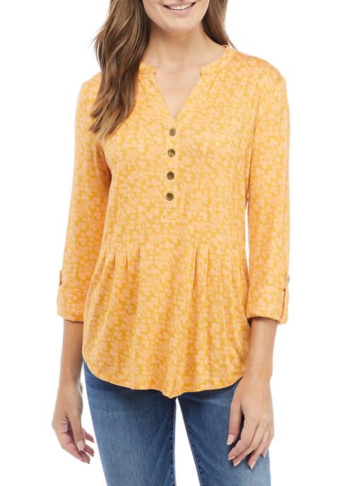 Petite Printed Henley Shirt
