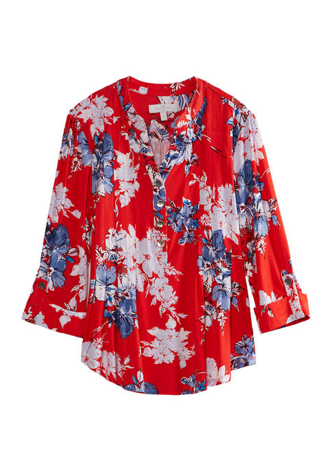Womens Henley Neck Floral Top
