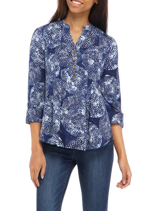 Petite Roll Tab Printed Henley Shirt