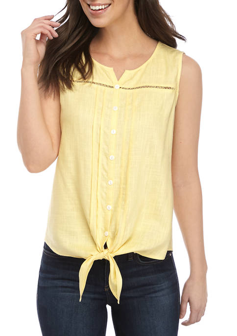 New Directions® Petite Sleeveless Linen Button Front Blouse