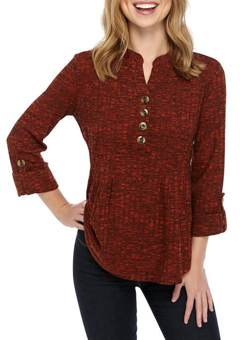 Petite Knit Ribbed Hacci Henley Shirt