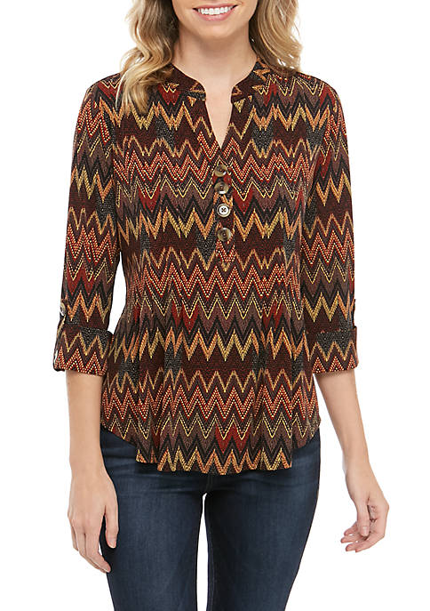New Directions® Petite Printed Knit Henley Top