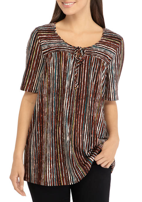 Petite Abstract Stripe Smocked Peasant Top