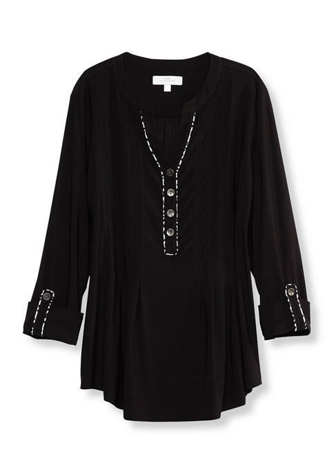 New Directions® Petite 3/4 Sleeve Top with Piping