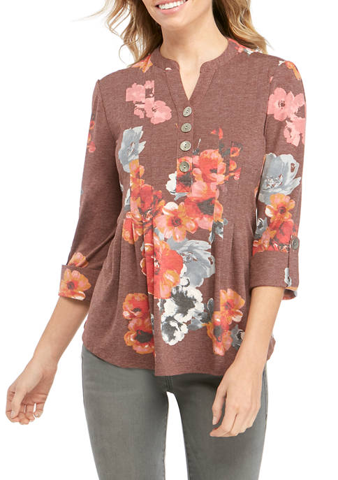 New Directions® Petite Henley Vintage Knit Top