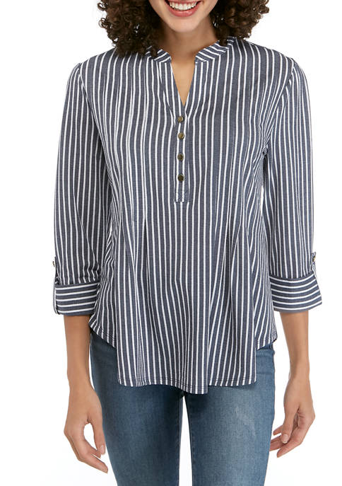 New Directions® Petite Henley Stripe Knit Top