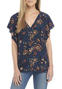 V-Neck Printed Blouse