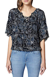 Nicola Ruffle Lace-Up Blouse