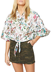 Clover Floral Tie Front Shirt